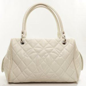 Auth Chanel Shoulder Bag White Leather #6928C54